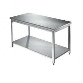 Tavolo in acciaio inox con piano in acciaio inox